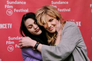 Frances Bean Cobain,  executive producer and Courtney embrace.. (Photo by Chris Pizzello/Invision/AP)